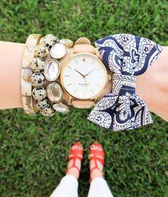 ABD's Fancy Friends: Kaitlin Kendall Designs // bow bracelets // @Kate Mazur Mazur Mazur spade new york watch, J. Klaus spotted bracelet // arm party