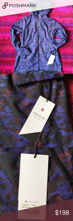 Lululemon rain for daze II jacket NWT New with tag, never worn, popular jacket sold out color, Google for more images and fit info. I'm usually a 10 in Lulu jackets .. this fits me well, but no layering room which I'd like. Price firm .. since sold out .. and I payed the tax too lululemon athletica Jackets & Coats