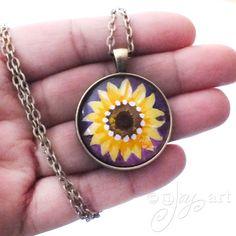 Sunflower on Purple Art Pendant NOT A PRINT wearable by nJoyArt