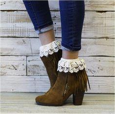 LILY lace socks - ivory - Catherine Cole Studio  - 1