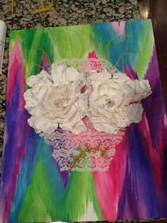 Sugar skull. Painted canvas. Handcut/crinkled/painted/rhinestoned flower eyes.