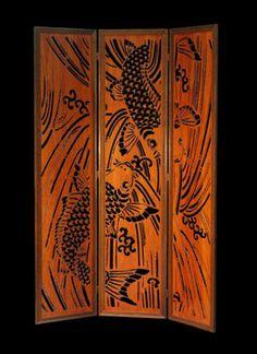 Wood Panel Floor Screen: Koi