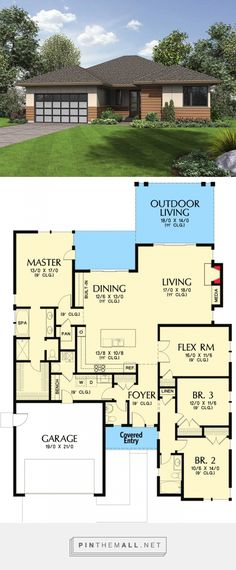 Northwest House Plan with Flex Room - 69630AM | Architectural Designs - House Plans - created via https://pinthemall.net