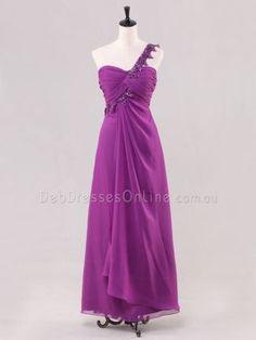 Slim A-line Sequined One Shoulder Strap Chiffon Prom Dress - Front Deb Dresses, Simple Dresses, Short Dresses, Formal Dresses, Debutante Dresses, Homecoming Dresses, Bridesmaid Dresses, One Shoulder Prom Dress, Boutique Dresses