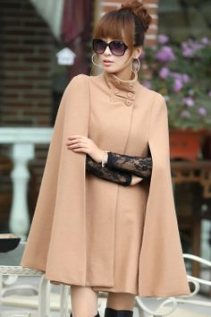 Cape Style Standing Collar Wool Coat, khaki,