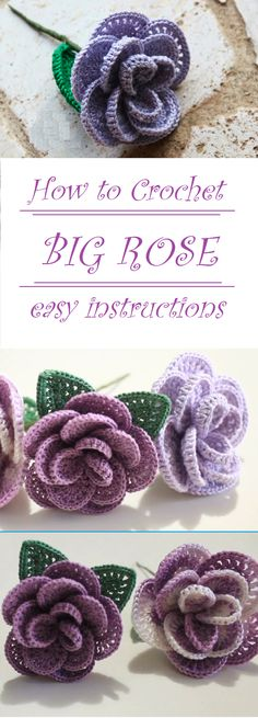 Crochet Rose Step by Step Crochet Leaves, Knitted Flowers, Crochet Roses, Crochet Stitches, Crochet Flower Hat, Crochet Flower Tutorial, Crochet Motif, Corazon Crochet, Cute Crochet