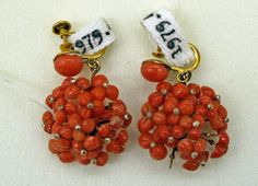 1850–99 coral, gold earrings