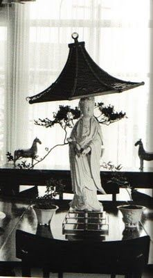 A Billy Haines tablescape using a chinoiserie lamp and shade. LOVE! Love the b&w pic too.