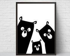 Bear Family Modern Nursery wall art Large Printable! INSTANT DOWNLOAD digital files!  Stop waiting for shipping – these files are ready to download immediately!  What's so great about digital prints? Well, there's no need to wait days for the mail to come – all files are available once your payment has cleared. That means you save time and money on shipping!  This listing includes 4 instantly printable downloadable digital files! Your order will include the following:  - 16x20JPG - 11x14…