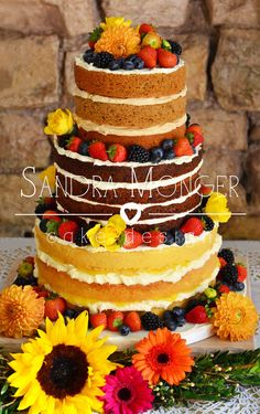 Mixed flavour naked cake, with coffee and walnut, carrot, pecan and sultana and lemon drizzle with lemon curd and sweet cream cheese frosting.