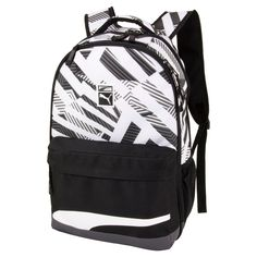 This fashionable backpack by Puma is also functional.  It has dual main zippered compartments, interior laptop sleeve, lined pocket with headphone port, side water bottle pockets, padded back and mesh shoulder straps for breathability.