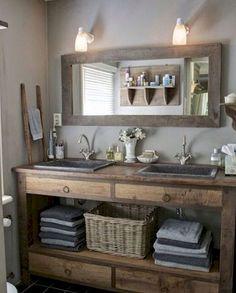 125 awesome farmhouse bathroom vanity remodel ideas (56)