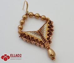 Beautiful triangle shaped Grace Earrings made in peyote stitch with Swarovski components.Beading Tutorial for Grace Earrings is very detailed,step by step