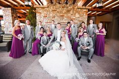 This looks like your wedding D. 7 Bridesmaids and Groomsmen, grey tuxes, and it's themed purple and grey. Haha, what a coincidence.