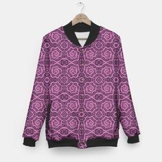 """""""Pink helices"""" pattern in pink & purple Baseball Jacket, Live Heroes   #pink, #purple, #helices, #pattern, #dots, #abstract, #lace, #lines, #spirals, #curves,#handdrawn, #stylized,  #arabesque, #tshirt, #jacket, #basketball"""