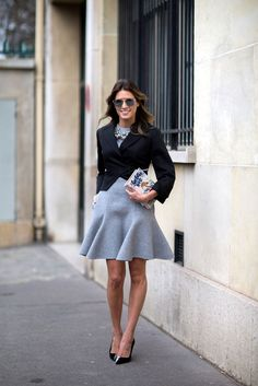 fluted gray skirt dress and blazer