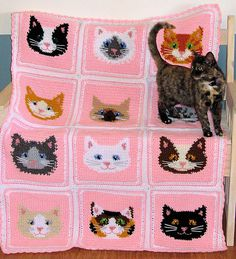 Lovely Afghan & Pillow Set featuring 12 Adorable Kitty Faces!