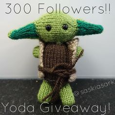 Hello everyone! I've reached 300 followers! What a better way to celebrate that to do a Yoda giveaway to show how grateful I am!! The rules are as follows... #doordonotthereisnotry  1. Give Yoda some love  2. You must be following me 3. Repost this picture with @saskiasark #saskiasark 4. Comment on this photo and tag two of your friends The winner will be announced on Monday 21st March  Anyone can join in! The more the merrier!   #knit #yoda #giveaway #starwars #knitting #toys…