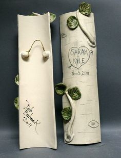 This personalized handmade woodland wedding ceramic tree trunk log is hand carved with your name, a saying, a date in a heart and is a beautiful way to commemorate Valentine's Day or say congratula. Tree Carving, Leaf Coloring, Personalized Wedding Gifts, Romantic Gifts, Stoneware Clay, Woodland Wedding, Handmade Pottery, Couple Gifts, Thoughtful Gifts