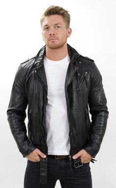 Parevaas Mens Mark Wahlberg Genuine Lambskin Motorcycle Black Leather Bomber Jacket