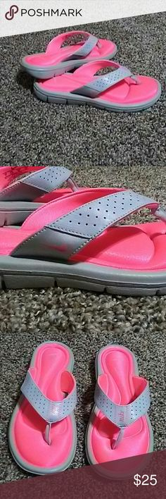 Nike sandals Neon pink/orange and gray sandals. Comfort foam foot bed. Excellent condition. Super comfortable and bright...perfect for summer! Nike Shoes Sandals