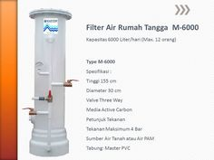 MASTER WATER SOLUTION menjual Filter Air berbahan dasar tabung dari PVC untuk kebutuhan rumah tangga untuk permasalahan air seperti kotor, berbau, berwarna kuning (zat besi tinggi), berkapur, kuning organik, dan permasalahan lainnya. Mulai dari 4000 Liter/hari (type M-4000), 6000 Liter/hari (type M-6000). Berikut ini adalah spesifikasinya :  Filter Air Rumah Tangga M-4000  Filter Air Rumah Tangga M-6000