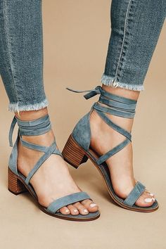 919237b7ade    Cheap Sale OFF!    Visit   Fashionable yet sensible the Steve Madden  Rizzaa Light Blue Suede Leather Heeled Sandals are all-around winners!
