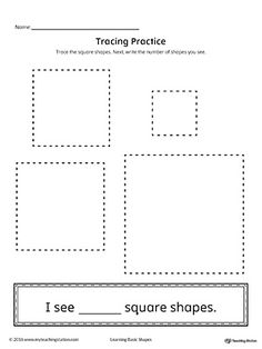 Geometric Shape Counting and Tracing: Square Worksheet.Practice counting and tracing the geometric shape square in this printable worksheet.
