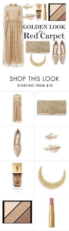 """RED CARPET: Golden Look"" by ddalginanabeauty ❤ liked on Polyvore featuring Valentino, New Look, Gianvito Rossi, Brides & Hairpins, Yves Saint Laurent, Robert Rose, Elizabeth Arden, Too Faced Cosmetics and RedCarpet"