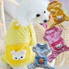 3 Color ALL SIZE Stripes Dog Jumpsuit Pajamas Dog Coats Dog Clothes Pet Apparel