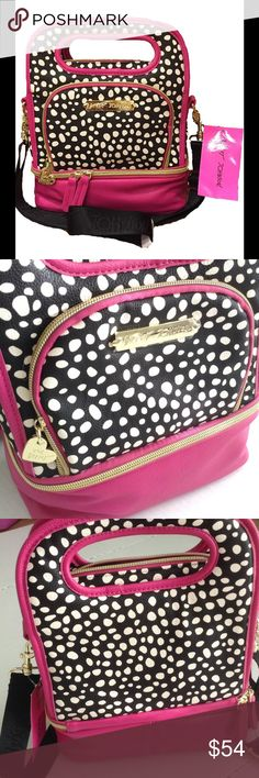 NWT Betsy Johnson Polka Dot Insulated Lunch Tote Carry your lunch with style and whimsy that only comes from a Betsey bag.  Hot pink, black and white with signature gold tone hardware.  3 zippered compartments with plenty of room for lunch and drink! Betsey Johnson Bags Totes
