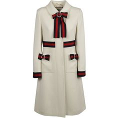 Web Trimmed Coat (140.580 RUB) ❤ liked on Polyvore featuring outerwear, coats, white, woolen coat, gucci, gucci coat, wool coat and white coat