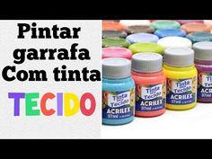 como pintar garrafa com Tinta De Tecido ,não precisa primer - YouTube Decoupage, Youtube, Messages, Make It Yourself, Blog, Pasta, Diy, Glass Paint, Decorative Bottles