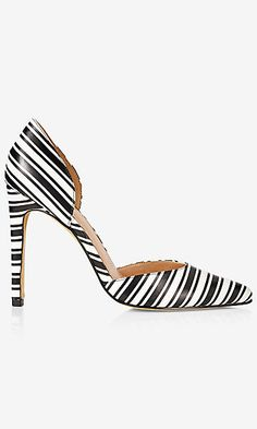 black and white striped d'orsay pump