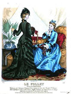 Feb 1876 le follet, journal du grand monde Victorian Era Dresses, Victorian Era Fashion, 1870s Fashion, Victorian Women, Vintage Fashion, Fashion Forms, Fashion Prints, Lavender Gown, Fashion Illustration Vintage