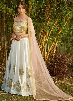 Light Pink and White Embroidered Lehenga