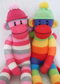 cute sock monkeys custom made by sunsetgirl creations, via Flickr