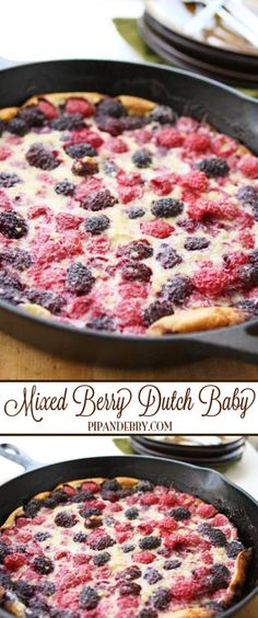 Mixed-Berry Dutch Baby | This is a berry-packed, delicious breakfast option! #breakfast #dutchbaby
