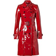 BURBERRY LONDON Queenscourt Trench Coat in Lacquer Red (5.410 BRL) ❤ liked on Polyvore featuring outerwear, coats, jackets, coats & jackets, belted trench coat, long sleeve coat, red trenchcoat, burberry trenchcoat and red coat