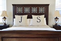 IKEA pillows with stencil initial (love this bed, too!)
