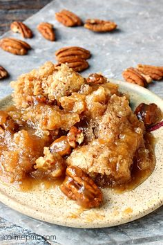 Pecan Cobbler takes one of Southerners favorite, the pecan, and makes a rich, caramel cobbler.