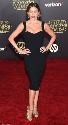 Defying gravity: Sofia Vergara's put on an eye-popping display on the red-carpet at the Star Wars: Episode VII - The Force Awakens premiere in Los Angeles on Monday