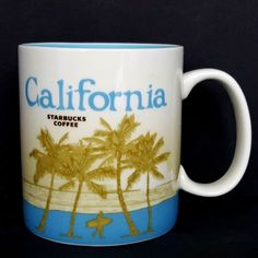Starbucks California Coffee Mug 2012 16 0z Travel States Series Palm Trees   eBay