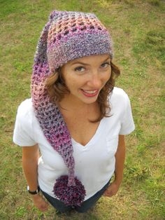 Long Retrolike Openweave Crochet Hat by Corchet on Etsy, $20.00