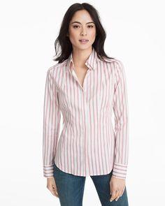 Button-Front Pink Stripe Poplin Shirt