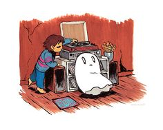 Napstablook and Frisk listening to vinyls. by ellenalsop on Tumblr.