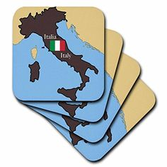 3dRose LLC The Map and Flag of Italy with Italy Printed in English and Italian Coaster Soft Set of 8 *** Want to know more, click on the image. (This is an affiliate link)