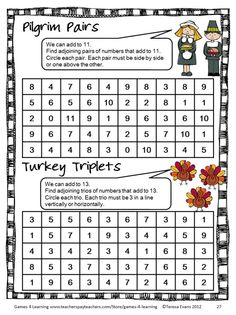Thanksgiving Math Games, Puzzles and Brain Teasers is a collection of Thanksgiving Math from Games 4 Learning. It is loaded with Thanksgiving math puzzle sheet from Thanksgiving themed math fun and is perfect for November math activities. $