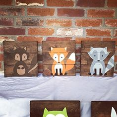 Amazon.com: 6 Woodland Animal Nursery Signs Nursery Decor Baby Shower Gift or Baby Decor Clever little fox nursery accessories: Handmade