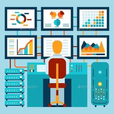 Analysis of Information on Dashboard (Vector EPS, CS, analyst, arrow, broker, business, businessman, dashboard, data, diagram, economics, expert, finance, flat, graph, infographic, market, marketing, media, monitoring, plan, report, research, result, sales, social, statistics, stock, success, table, vector, workplace)